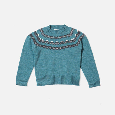 Alpaca Mountain Sweater - Sea Blue - 18m-36m