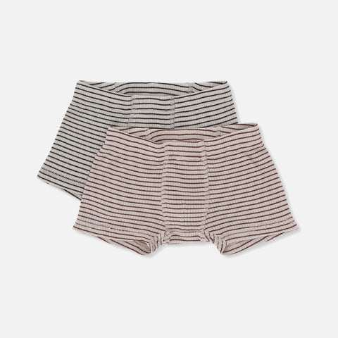 Organic Cotton Two Pack Stripe Underwear - Boxer Shorts - Bordeaux/Navy - 2y-9y