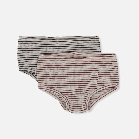 Organic Cotton Two Pack Stripe Underwear - Pants - Bordeaux/Navy - 2y-9y
