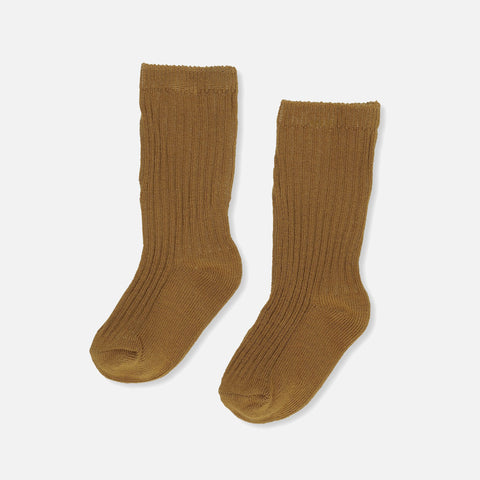 Cotton Hisao Rib Socks - Dark Honey