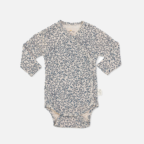 Organic Cotton Newborn Wrap Body - Blue Blossom Mist