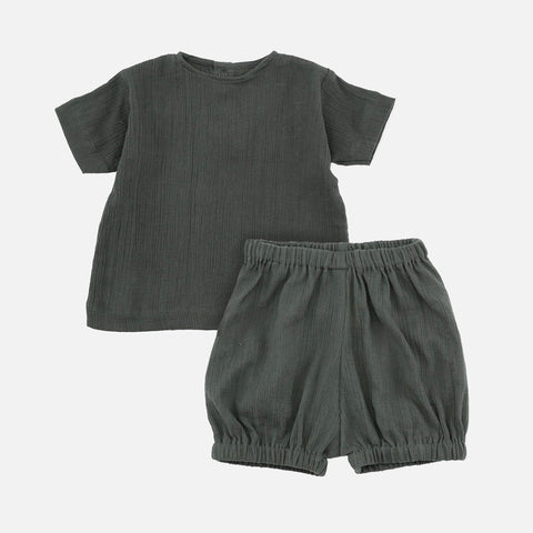 Organic Cotton High Twist Tee & Bloomer Set - Teal