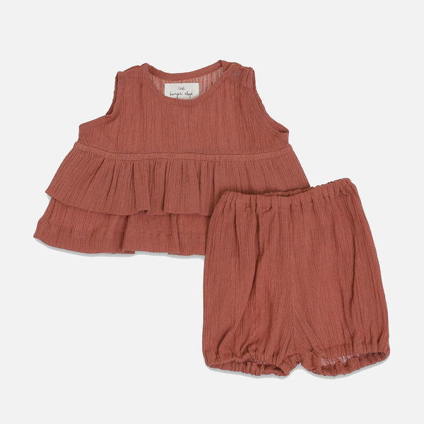 Organic Cotton High Twist Tee & Bloomer Set - Cedar Wood