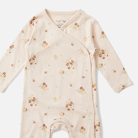 Organic Cotton Newborn Wrap Romper - Nostalgie Blush