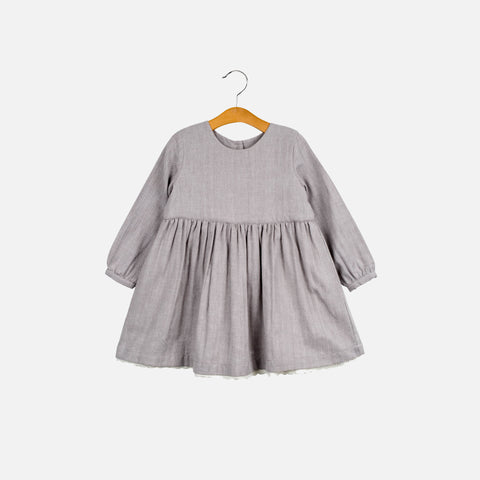 Cotton Maud Dress - Grey Herringbone - 1-7y