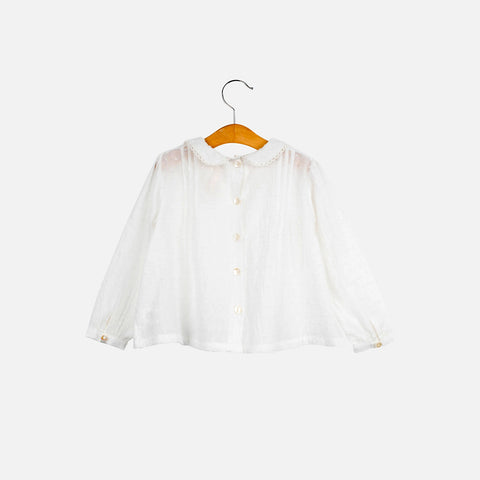 Cotton Wendy Spot Blouse - White - 4-6y