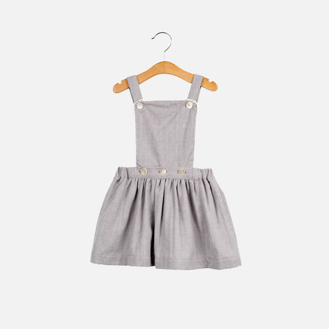 Cotton Iris Pinafore - Grey Herringbone - 1-7y