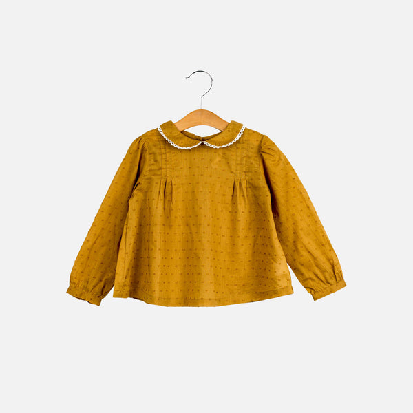 Cotton Wendy Spot Blouse - Mustard - 1-7y