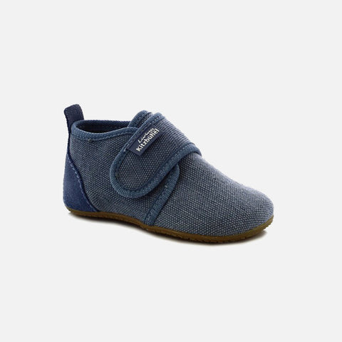 Velcro Cotton Slipper Shoe - Jean - 20-27 (UK 4-9)