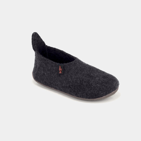 GOTS Organic Wool Slipper Shoe - Graphite - Size UK 7-12 (Europe 25-26
