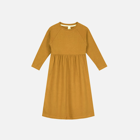 Organic Cotton Long Dress - Mustard - 2-8y