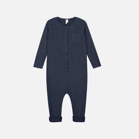 Organic Cotton LS Playsuit - Night Blue - 0m-8y