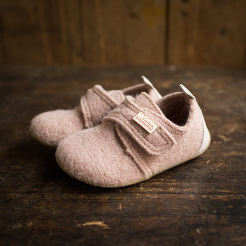Wool Slipper Shoe With Leather Heel - Woodrose