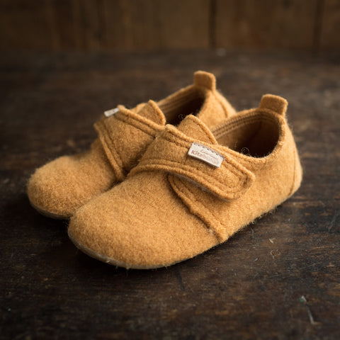 Wool Slipper Shoe With Leather Heel - Pumpkin