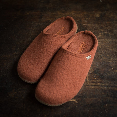 Adult Boiled Wool Slippers - Brick