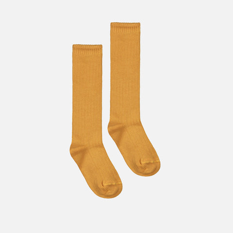 Organic Cotton Long Ribbed Sock - Mustard