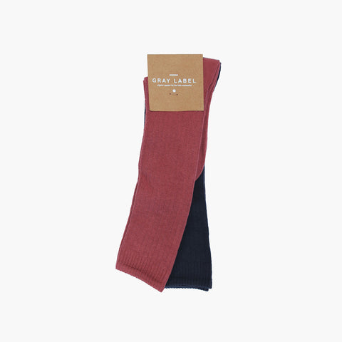 Organic Cotton Mix Long Ribbed Socks - Night Blue/Blush - 0m-10y