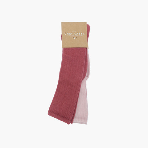 Organic Cotton Mix Long Ribbed Socks - Blush/Vintage Pink - 0m-10y