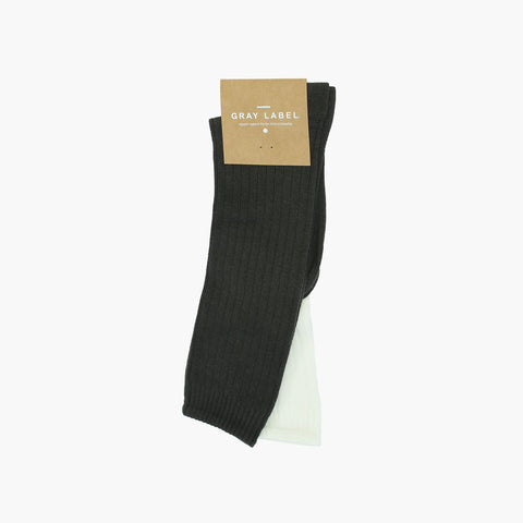 Organic Cotton Mix Long Ribbed Socks - Almost Black/Cream - 0m-10y