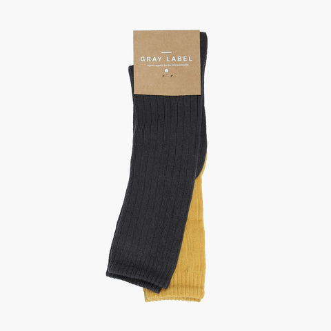 Organic Cotton Mix Long Ribbed Socks - Almost Black/Mustard - 19-22