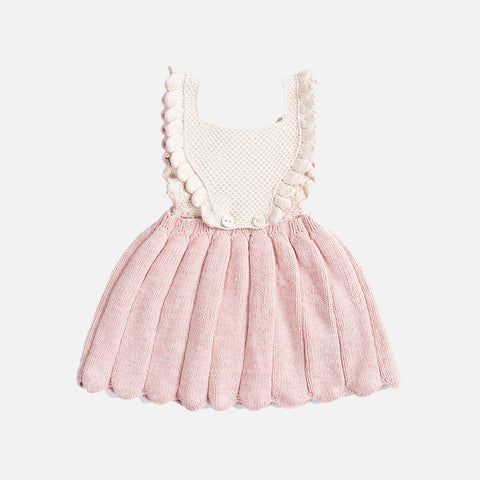 Hand Knit Louisa Pinafore - Pink Sand/Natural - 2-6y