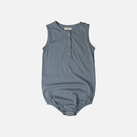 Organic Cotton Lundi Romper - Dusty Blue - 1m-3y