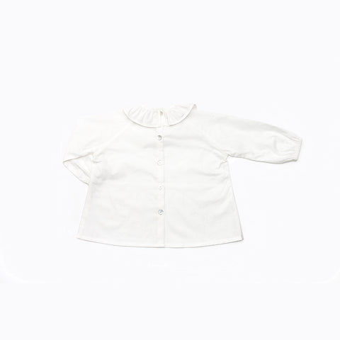 Cotton Ruffle Neck Shirt - White - 6m-8y