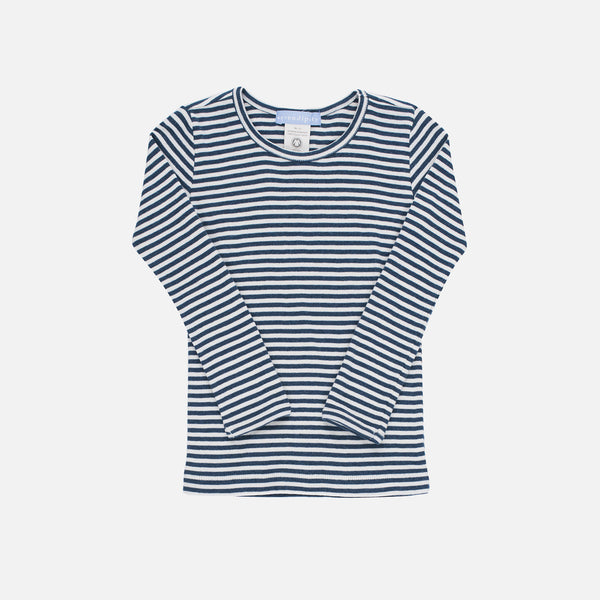 Organic Cotton Slim Stripe Rib Raglan - Orion Blue/Offwhite - 2-9y