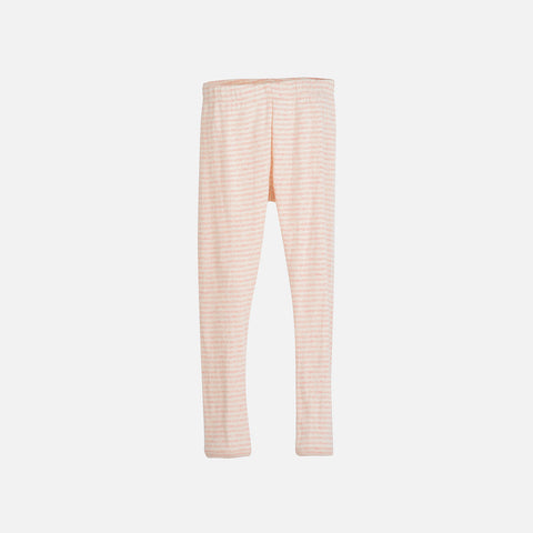 Organic Cotton Rib Stripe Leggings - Rose/Offwhite - 3-9y