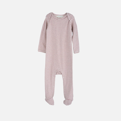 Organic Cotton Baby Suit Stripe - Woodrose/Off White