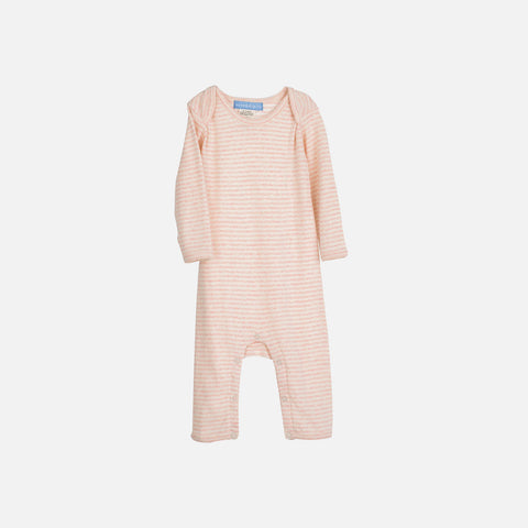 Organic Cotton Rib Baby Suit Stripe - Rose/Offwhite - 0m-2y