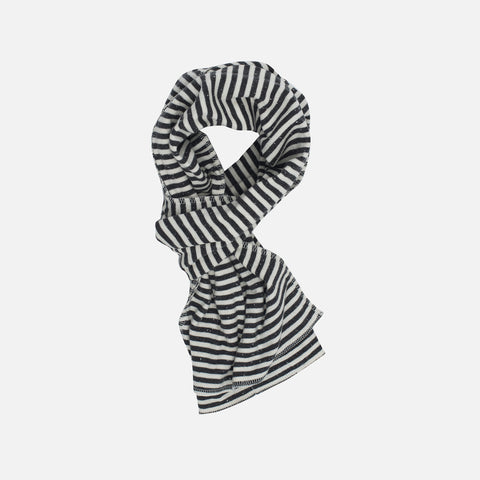 Organic Cotton Stripe Scarf - Granite/Offwhite - Kids & Adults