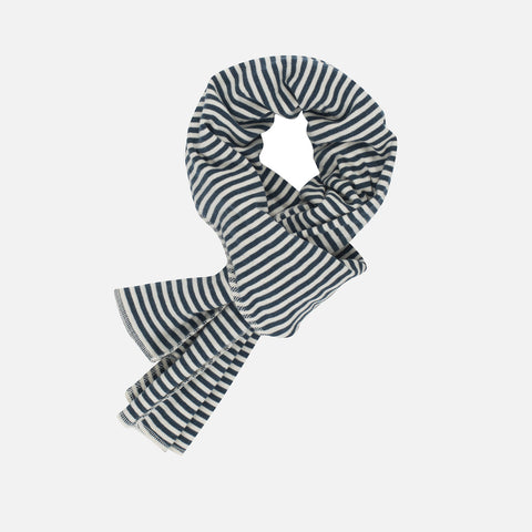 Organic Cotton Stripe Scarf - Orion Blue/Offwhite - Kids & Adults