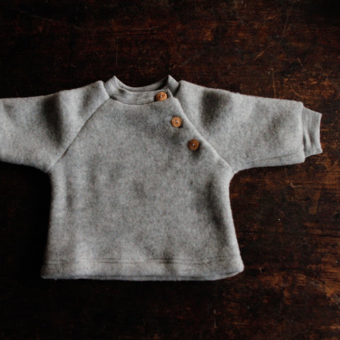 100% Organic Merino Wool Fleece Sweater - Light Grey - 0m-2y
