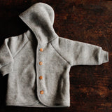 100% Organic Merino Wool supersoft Fleece Jacket - Light Grey - 0m-2y