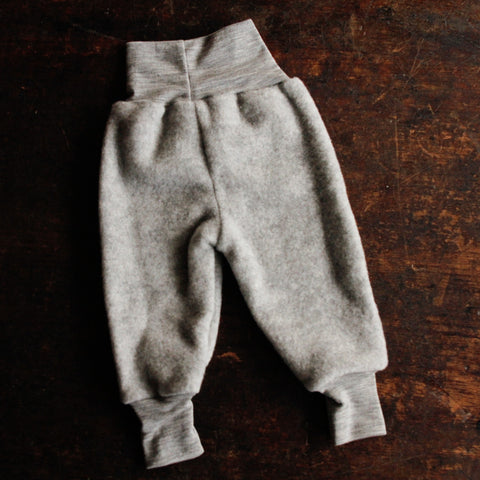 100% supersoft Organic Merino Wool Fleece Pants - Light Grey - 0-3m