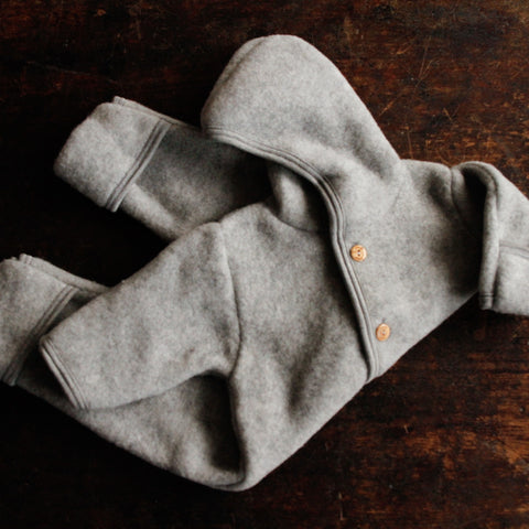 100% supersoft Organic Merino Wool Fleece Suit - Light Grey - 0m-2y