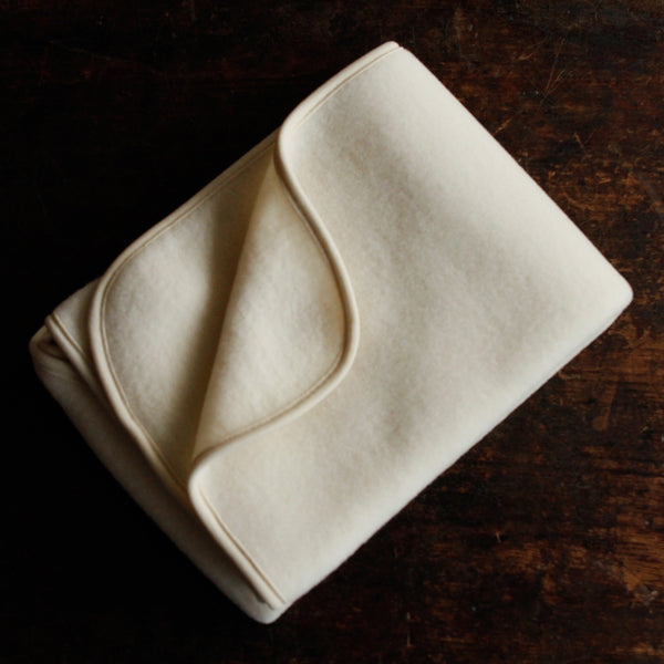 100% Organic Merino Wool Fleece Baby Blanket - Natural