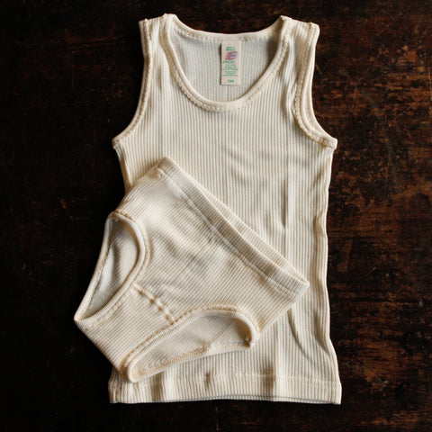 Organic Cotton Undyed Underwear - Girls Vest/Undershirt 2y-10y
