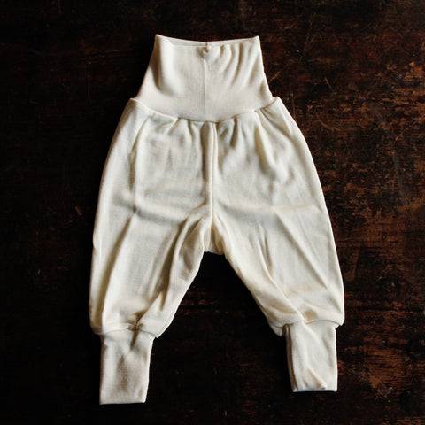Organic Silk & Merino Wool Baby Pants - Natural - 0-24m