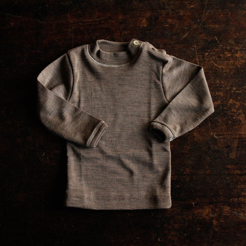 Organic Silk & Merino Wool Button Top - Walnut 3m-5y