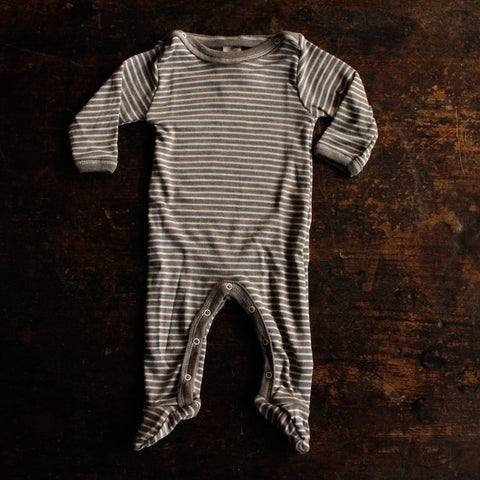 Organic Silk & Merino Wool Footed Pyjamas - Walnut Stripe - 0m-2y
