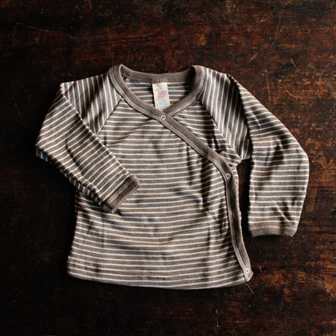 Organic Silk & Merino Wool Baby Top Side Close - Walnut Stripe - 0m-12m