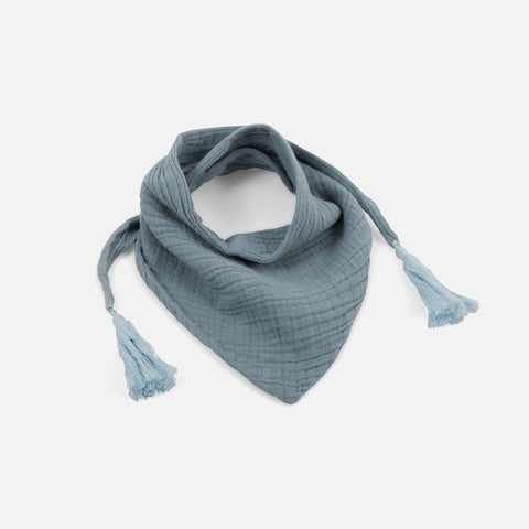 Muslin Misha Scarf with Pompons - Cool Blue