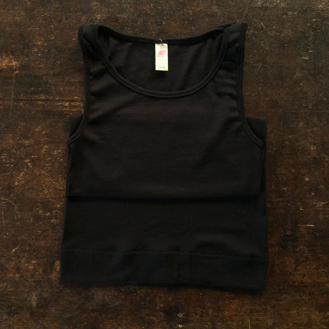 Organic Silk & Merino Wool Women's Extra Long Sleeveless Vest  - Black
