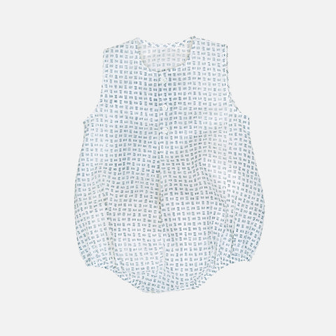 Cotton Aurele Hand-Block Print Romper - Grey/White - 6m-3y