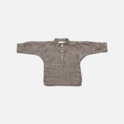 Linen Field Shirt - Ecru Check - 1-7y