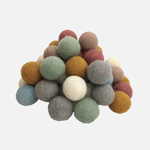 Felted Wool Balls - Set of 49 - Earth
