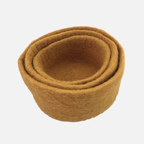 Felted Wool Nesting Bowls - Set of 3 - Mustard