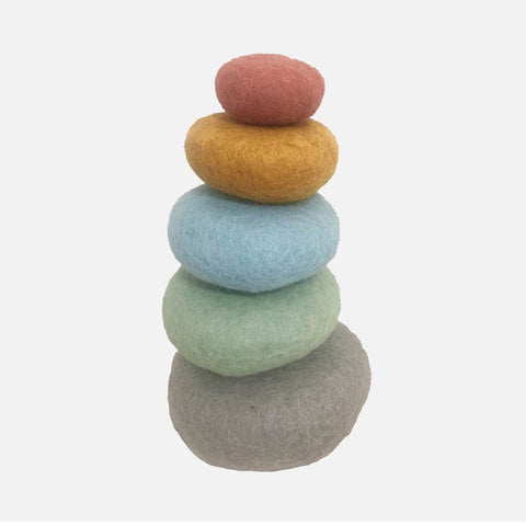 Felted Wool Stacking pebbles - Earth